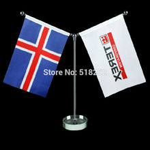 Custom table flag with glass base and metal pole Flag 14*21cm Banner 100D Polyester flag brass grommets 015, free shipping(China)