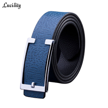 Lucidity Brand Name Men Belts Fashion Smooth Buckle Belt Boss Man Casual All-Match Male Belts PU Leather Unisex