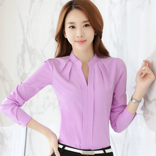 New fashion 2017 spring Causal Women Blouses top long sleeve Plus Size office wear Elegant chiffon Shirt blousa 881B