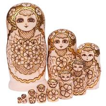 10pcs Baby Toy Plum Blossom Pattern Nesting Dolls Wooden Matryoshka Set Russian Dolls Hand Painted Home Decoration Birthday Gift(China)