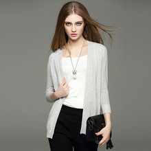 2017 Spring New Arrival Women's Fashion V-Neck Three-Quarter Sleeve White Grey Solid Color Thin Cardigans Women Casual Sweaters