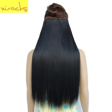 Xi.rocks Straight 5 Clip in Hair Extension Synthetic 25 Colors Women Clips Hair Pieces 60cm Hairpiece Extensions Hairpin 100g