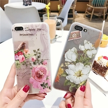 Kerzzil Cases For iPhone 7 3D Relief Summer Fresh Rose Peony flower Leaves soft Phone Cases For iPhone 6 6S 7 Plus Covers