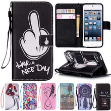 Touch 6 Art Print Pattern Luxury Leather Cover Wallet Style with Stand Function Flip Case For Apple iPod Touch 6 6G Touch6