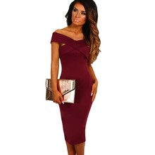 Classic women dresses 2017 new best selling products wine red black summer midi dress off shoulder slim fit bodyocn H61464