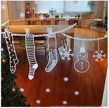 Merry Christmas Wall Art Removable Home Vinyl Window Wall Stickers Xmas Gift Socks Window Shop Stickers Decal Decor ST87(China)