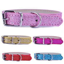 Cheap Pu Leather Pet Dog Cat Collars Adjustable Buckle Collar For Small Dogs Pink Red Gold Blue Colors Puppy Pet Supplies(China)