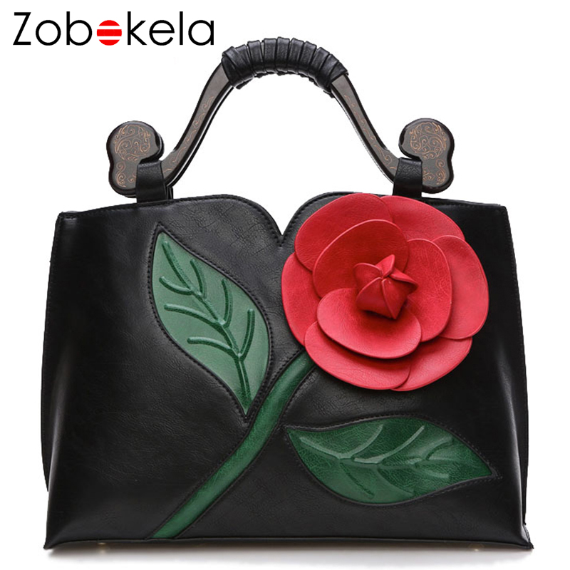 ZOBOKELA Women Messenger Bags female Women Leather Handbags Famous Brand 3D Flowers women Shoulder crossbody bags for women 2018<br>