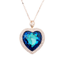 N331421 Luxurious big blue purple heart crystal necklaces zinc alloy rose gold color with Austria crystal fashion jewelry gift