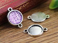 20pcs 12mm Inner Size Antique Silver Simple Style Cabochon Base Cameo Setting Charms Pendant (A2-03)(China)