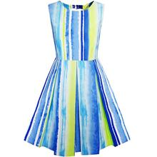 Sunny Fashion Girls Dress Striped Heart Shape Back Blue Party Cotton 2017 Summer Princess Wedding Dresses Clothes Size 4-8