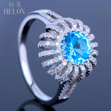 HELON 10K White Gold 6.5mm Round Blue Topaz Jewelry Pave.45ct Natural Diamonds Engagement Wedding Ring Women's Fine Jewelry Ring