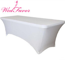 WedFavor 20pcs White 6ft Rectangular Spandex Table Covers Lycra Stretch Table Cloths For Party Event Wedding Decoration(China)