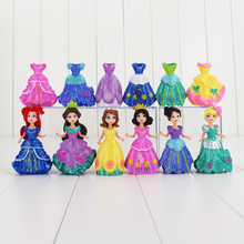 12pcs/lot Elsa Anna Princess Snow White Sleeping Beauty The Little Mermaid PVC Figure Toy Can Change Clothes Doll For Girls Gift