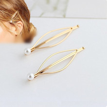 Fashion Simple atmospheric European and American wind Hairpin imitation pearl gold hairpin side clip hairpin Free shipping