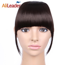 AliLeader Short Striaght Neat Bangs Clip In Synthetic Hair Extensions Front False Fringe Hair Piece Black Brown Blonde(China)