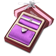 Christmas Gift  !! Twinset  Women's & Men's Genuine Cowhide Leather ID Card Holder + Key Holder Hanging Purse GB29