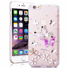 For iPhone 6 6s Plus Case Flowers Luxury 3D Glitter Crystal Phone Case For iPhone 5 5s SE Clear Hard Cover for iPhone 6s 6 Plus