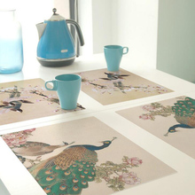2017 Hot Sale 1 Pc Creative Bird Painted Design Theme PVC Antiskid Placemat Waterproof Kitchen Table Mat Home Decor Accessories