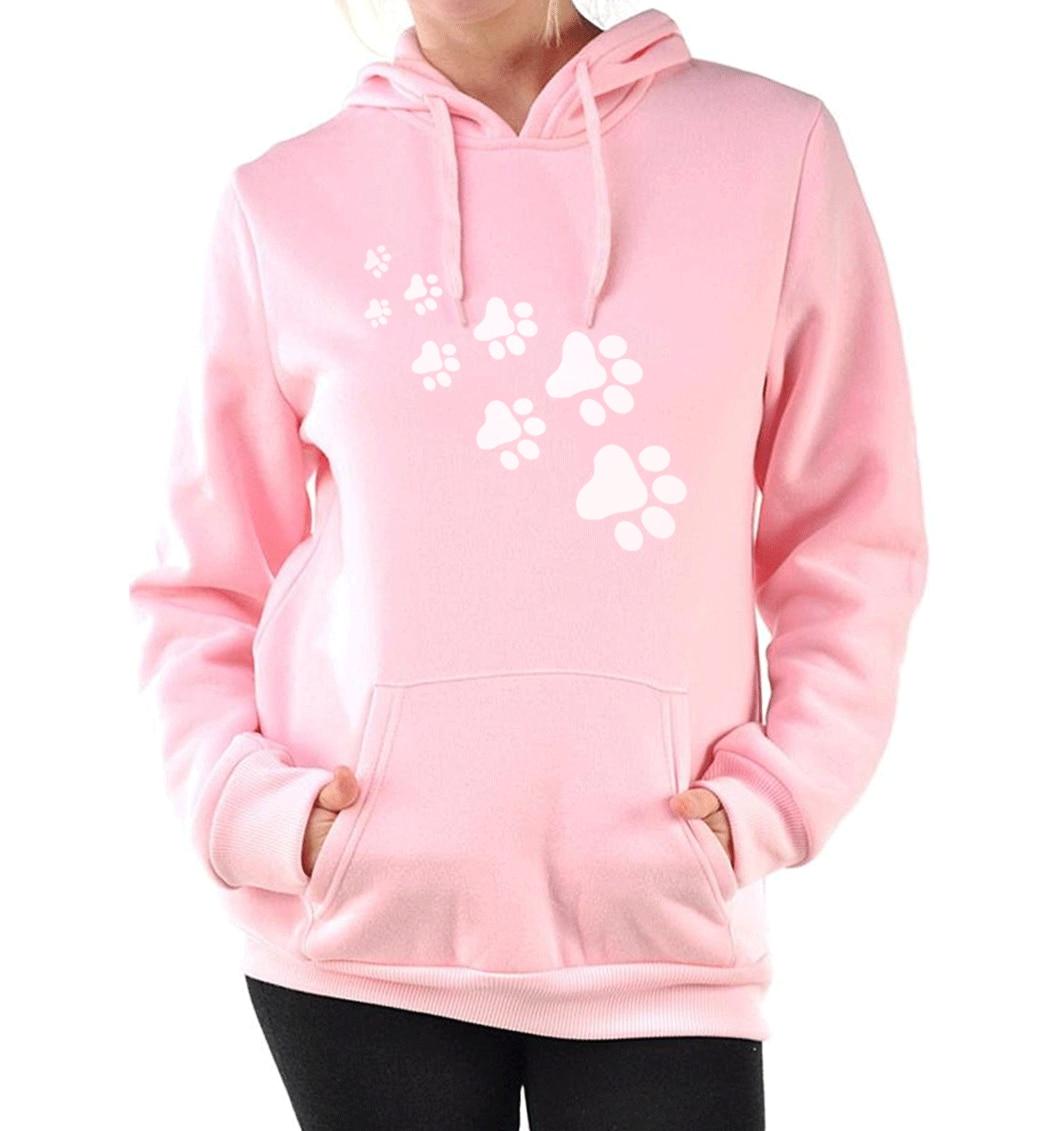 Casual fleece autumn winter sweatshirt pullovers 17 kawaii cat paws print hoodies for Women black pink brand tracksuits femme 8