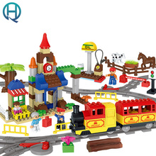 HuiMei Classical Train Terminal Big DIY Building Blocks Bricks Baby Early Educational Learning train Birthday Gift Toys for Kids