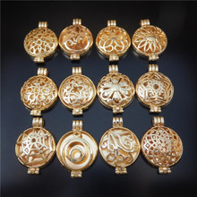 12Pc/lot Vintage Gold Round Hollow Wishes Box Locket Charm jewelry Fragrance Essential Oil Aromatherapy Diffuser Necklace GR-891