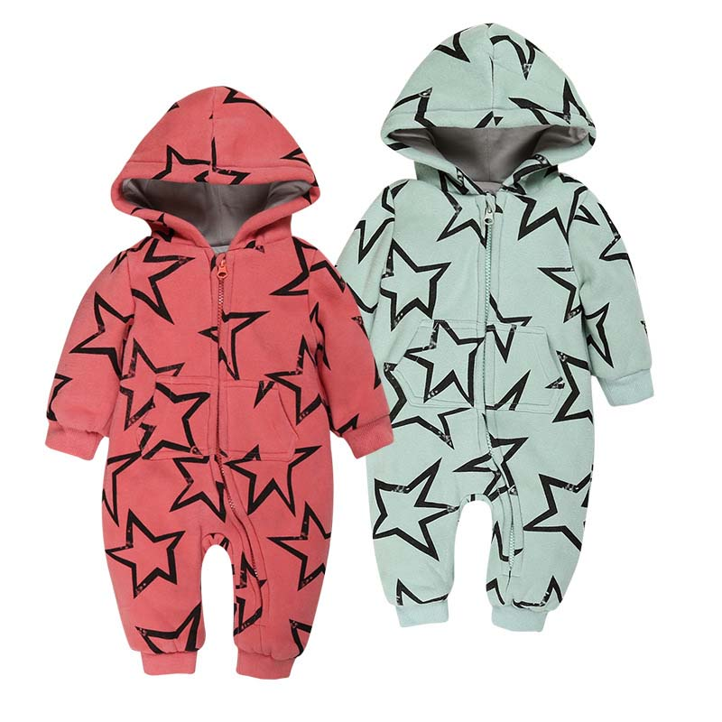 New 2017 baby rompers winter and autumn cotton hooded thick fleece jumpsuit pentagram boys girls out clothes ROM007<br><br>Aliexpress