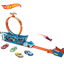 Hot Wheels Stunt & Go Track Set Mobile Stunt Launcher TS Move Tracks Cars Toy Educational Truck Toys for Boy Hold 18 Sports Cars(China)