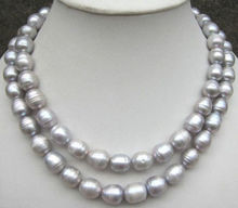 Hot sale new Style >>>>>natural AAA 11-13mm silver Grey pearl necklace 32""