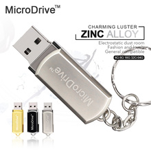 Micro Drive Stainless Rotated usb flash drive 64gb 32GB 8GB 16GB 4GB usb pen Memory Sticks Thumb Drive with key chain