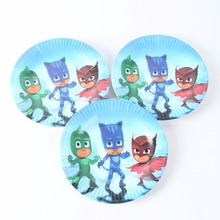10pcs/lot Kids Boys Party 7inch Cartoon PJ Mask Paper Plate Cake Dishes Kids Birthday party Decoration(China)