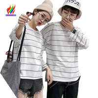 f5fb7e4cd5 Cute Matching Couple T Shirt Cotton Lovers Black White Striped Cute Casual  Print Tops Couples Unisex