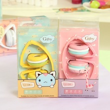 AINGSLIM Macaroon Cute Headphones Candy Color Foldable Earphone Kids Headset with Mic for Birthday Gifts for Smartphone PC MP3(China)