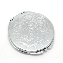 "Silver Tone Carved Make Up Compact Mirror 6.6x6.2cm(2-5/8""x2-1/2""), sold per packet of 1"