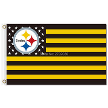 US America Flag Pittsburgh Steelers Usa Flag 3ft X 5ft Polyester NF*L World Series Football Team Pittsburgh Steelers Banner(China)