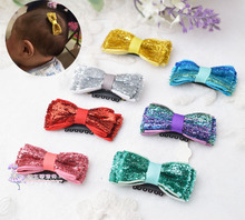 Wispy Clippy Glittle Bow HAIR CLIP - Mini. Kids WISPY CLIPPY - BEST NO SLIP BARRETTE FOR FINE HAIR(China)