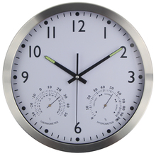 Large Silent Wall Clock Thermometer Hygrometer Quiet Sweep Movement Round Metal Clocks No-ticking Home Decor Horloge