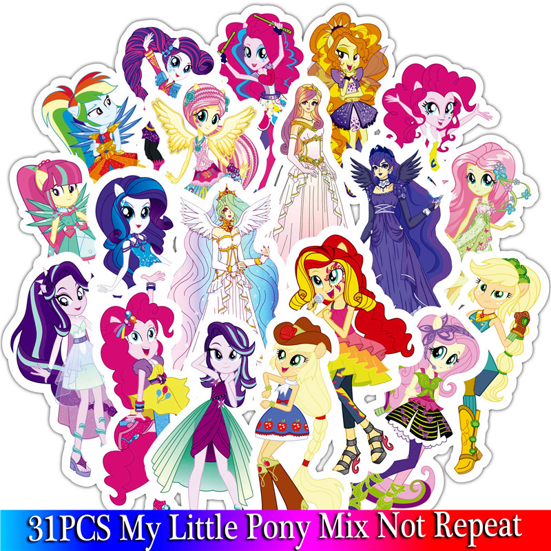 31PCS Little Pony Sticker Cute Cartoon Sticker Set For DIY Travel Case Bicycle Fridge Laptop Kid Toy Anime Stickers (2)