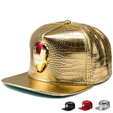 2017 Lovely PU Leather hip hop hats Diamond Crocodile Grain Golden Rhinestone iron man Logo baseball caps men women gifts hat