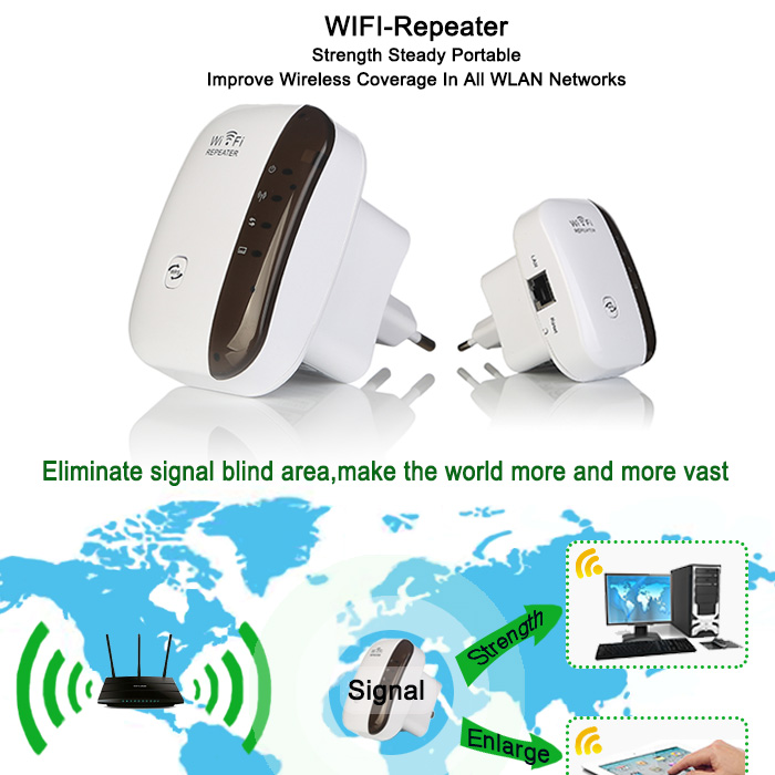 Wireless WiFi Repeater Signal Amplifier 802.11N/B/G Wi-fi Range Extander 300Mbps Signal Boosters Repetidor Wifi Wps Encryption 5