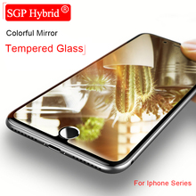 9H Colorful Mirror Tempered Glass Phone Protector Case For Apple Iphone 6 6S 7 Plus I6 I6s I7 I 7 6 6S Plus Protective Film Case(China)