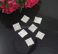 Free Shipping 100pcs 16X16mm Square Rhinestone Embellishment Buttons Flatback Clear Crystal Buckles