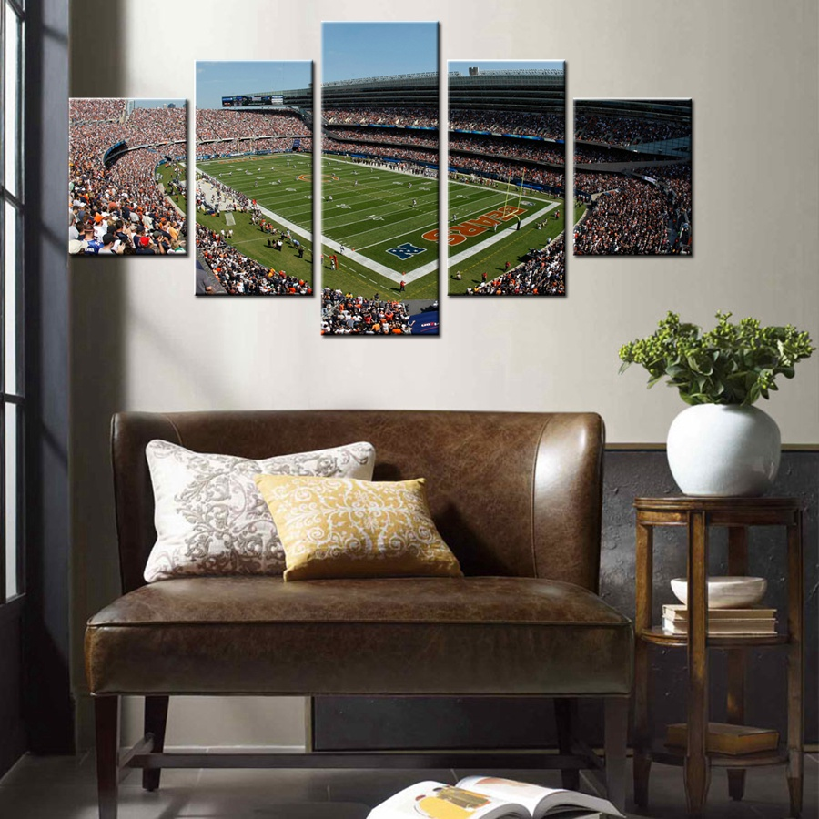 Landscape HD Print Canvas Painting American Football Field Of Chicago Bears Fashion Artwork Wall Decor For House Custom Gift(China)