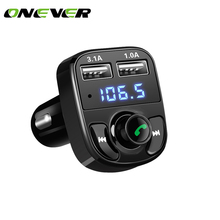 Onever Car Kit Bluetooth MP3 Player Hands-free Call Wireless FM Transmitter Radio Adapter DC 12-24V with Dual USB Car Charger(China)
