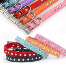 Hot Sale Personalized Soft Real Leather Rhinestone Pet Dog Collar Black,Red,Pink,Blue,Purple