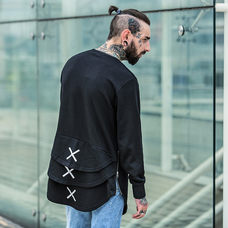 Cross Printed Hip Hop Sweatshirt Men 17Spring Streetwear Curved Hem Side Zipper Plain Mens Sweatshirts and Hoodies Man Clothes 7