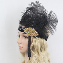 1920s Black Ostrich Feather Headpiece Rhinestone Sequin Tassel Headband Flapper for Fancy Dress Party