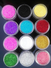 12 Colors/set Nail Glitter Ultra fine 008 Nail Art Decoration Stickers Round Sequins UV Gel Acrylic Glitter Tips,free shipping(China)
