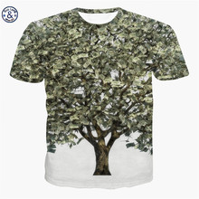 Mr.BaoLong&Miss.GO Summer Men/Women 3D Printing Tree knot US dollars money Round neck Harajuku style T-shirt Brand cotton Tees(China)