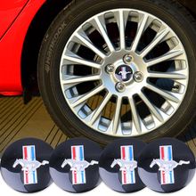 Car styling 4pcs 56.5mm 3D Horse Flag Car Auto Steering Wheel Center Hub Cap Emblem Badge Stickers for Ford Mustang